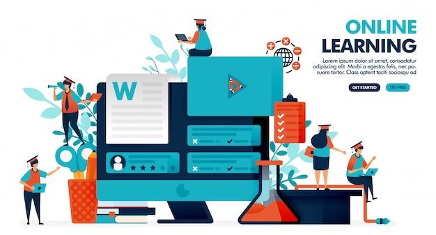 L'illustrazione di vettore della gente studia con la tecnologia di apprendimento online sullo schermo di monitor. insegnare webinar con video ed esame.