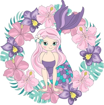 L'illustrazione di vettore di colore di clipart di viaggio del mare ha messo il fiore di mermaid