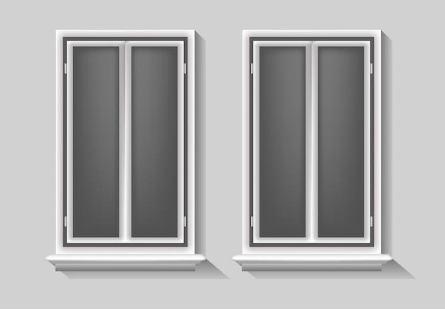 L'illustrazione di windows, elemento stabilito del modello di concetto isolato svuota l'annata in bianco del fondo, stanza moderna realistica di vetro di objecy della struttura