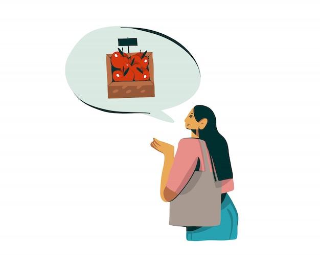 L'illustrazione disegnata a mano con il carattere della ragazza compra la mela domestica organica fresca su fondo bianco