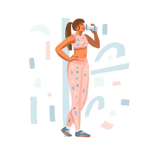 L'illustrazione disegnata a mano con la giovane femmina felice beve l'acqua da un agitatore durante l'allenamento di sport su fondo bianco
