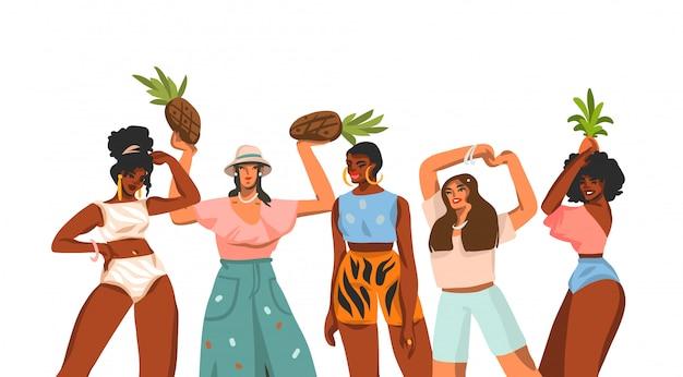 L'illustrazione disegnata a mano con la giovane raccolta multietnica felice delle femmine di bellezza della piccola raccolta ha messo su fondo bianco