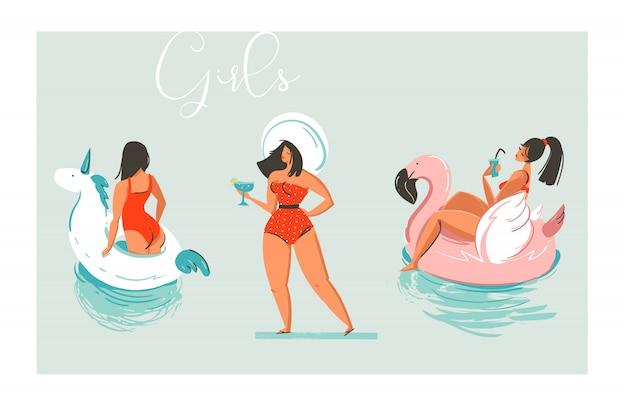 L'illustrazione disegnata a mano della raccolta delle ragazze della spiaggia di divertimento di estate del fumetto disegnato a mano ha messo con gli anelli dell'unicorno e del fenicottero del galleggiante della piscina e la ragazza retro in cappello con il cocktail su fondo blu