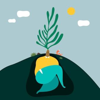 L'illustrazione divertente di un uomo che indossa l'albero va come capelli