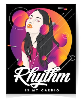 L'illustrazione moderna della ragazza con testo rhythm è il mio cardio