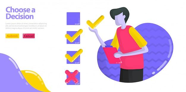 L'illustrazione sceglie una decisione. gli uomini stanno compilando sondaggi ed esami. specifica l'opzione check o cross.