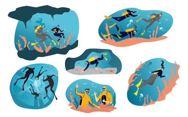 L'illustrazione subacquea del subaqueo, l'acqua dell'oceano del mare del fumetto con la gente si tuffa, nuota fra il pesce e le icone della barriera corallina isolate su bianco