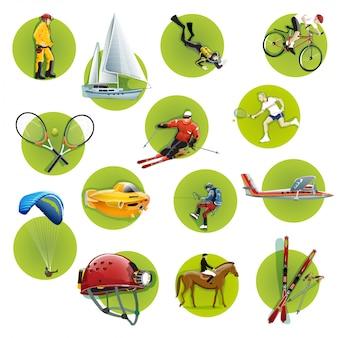 L'illustrazione vettoriale delle icone di sport estremi