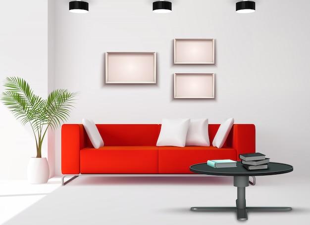 L'immagine dello spazio del salone con il sofà rosso ha completato l'illustrazione realistica di progettazione domestica dei dettagli interni neri bianchi