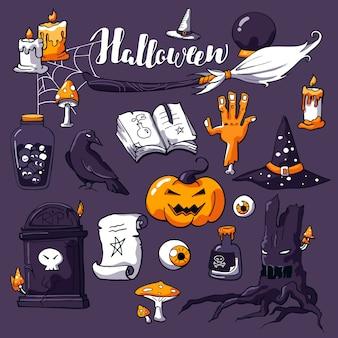 L'immagine di halloween ha impostato sulla viola con l'iscrizione di halloween