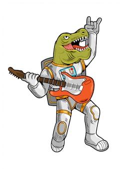 L'incisione disegna un fantastico astronauta t rex tirannosauro rock star che gioca alla chitarra in tuta spaziale.