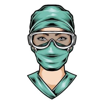L'infermiera indossa l'uniforme chirurgica