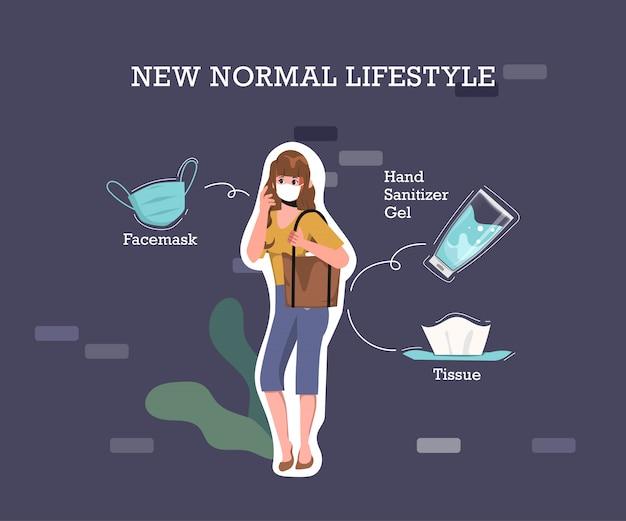L'infografica di coronavirus deve contenere elementi per prevenire la malattia di coronavirus. nuovo concetto di stile di vita normale.