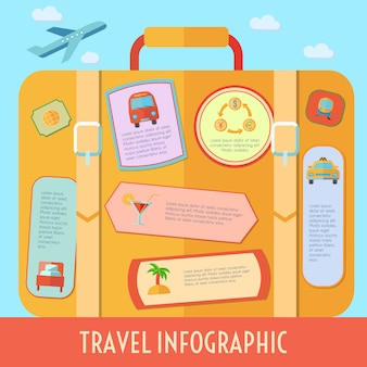 L'infographics di viaggio del mondo ha messo con i simboli di vacanza e di turismo vector l'illustrazione