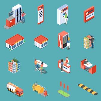 L'infrastruttura della stazione di servizio e dei servizi per le icone isometriche dei clienti hanno isolato l'illustrazione di vettore