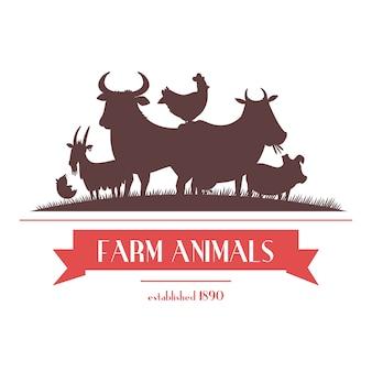 L'insegna del negozio dell'azienda agricola o etichetta la progettazione bicolore con gli animali del bestiame e le siluette dei polli sottraggono l'illustrazione di vettore