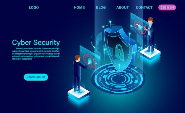 L'insegna di concetto di sicurezza cyber con l'uomo d'affari protegge i dati e la riservatezza e il concetto di protezione della riservatezza dei dati con l'icona di uno scudo e di una serratura. illustrazione vettoriale isometrica piatta