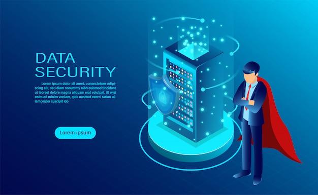 L'insegna di concetto di sicurezza dei dati con l'eroe protegge i dati e la riservatezza