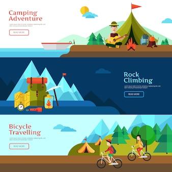 L'insegna orizzontale piana di campeggio ha messo per web design e l'illustrazione di vettore di presentazione