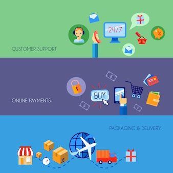 L'insegna piana d'acquisto di acquisto di commercio elettronico online ha messo con l'imballaggio di pagamenti del servizio clienti e l'illustrazione di vettore isolata consegna.