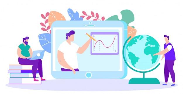 L'insegnante dell'uomo conduce la formazione online.