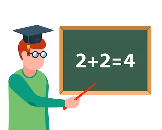L'insegnante di matematica spiega il compito alla lavagna. illustrazione del personaggio.