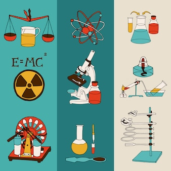 L'insieme colorato dell'insegna di schizzo di schizzo di attrezzatura scientifica del laboratorio di ricerca scientifica di chimica e di chimica ha isolato l'illustrazione di vettore