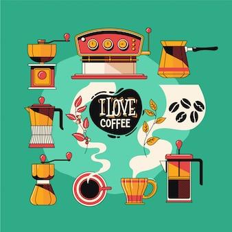 L'insieme d'annata degli oggetti del caffè significa l'attrezzatura del caffè
