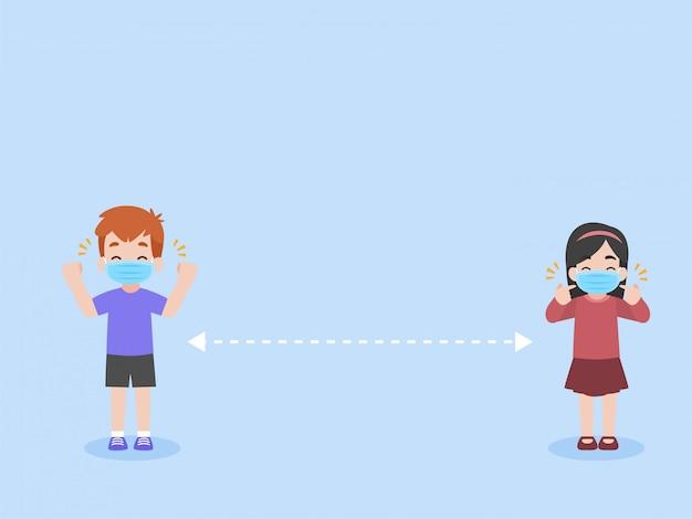 L'insieme dei bambini mantiene il social distancing