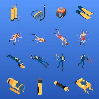 L'insieme dei caratteri umani delle icone isometriche con attrezzatura per l'immersione con bombole ha isolato l'illustrazione di vettore