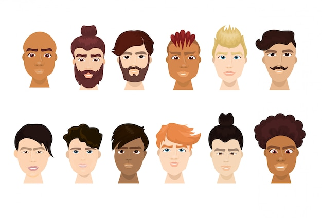L'insieme dei fronti dell'uomo dell'uomo dei pantaloni a vita bassa con le barbe e le acconciature alla moda ha isolato la raccolta dell'icona