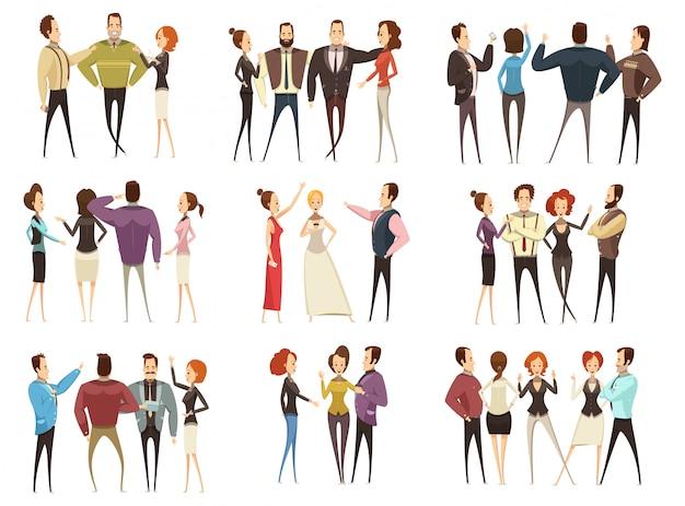 L'insieme dei gruppi di affari davanti e le viste posteriori con gli uomini e le donne del fumetto hanno isolato il illustra di vettore