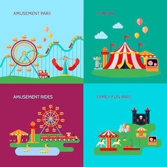 L'insieme del fondo di concetto del parco di divertimenti con divertimento guida l'illustrazione di vettore isolata piano di simboli