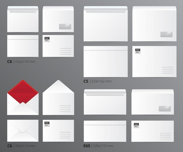 L'insieme del modello dell'ufficio di carta delle buste della posta realistica ha ordinato per dimensione della lettera con l'illustrazione appropriata di vettore di didascalie del testo