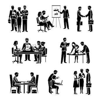 L'insieme del nero delle icone di lavoro di squadra con la gente di affari e l'attività di gruppo organizzata hanno isolato l'illustrazione di vettore
