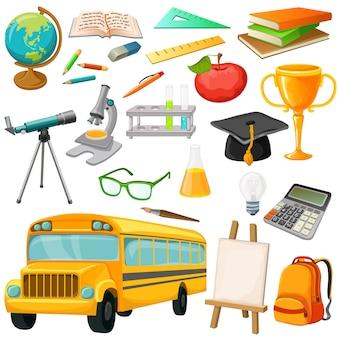 L'insieme dell'icona della scuola con il pic isolato dei rifornimenti di scuola del bus e la cancelleria vector l'illustrazione