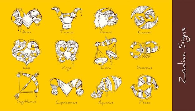 L'insieme dell'illustrazione dello zodiaco firma nello stile di boho. ariete, toro, gemelli, cancro, leone, vergine, bilancia, scorpione, sagittario, capricorno, acquario, pesci.