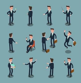 L'insieme della gente di affari di isometrico in ufficio, divide l'idea, progettazione grafica di vettore di informazioni 2
