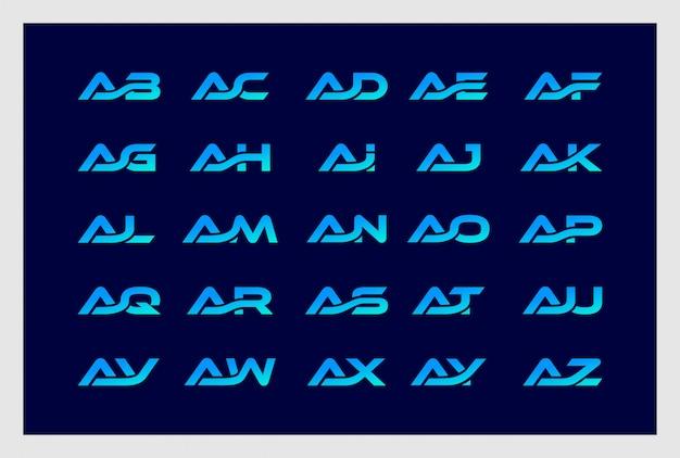 L'insieme della lettera a si combina con il vettore premio di progettazione di logo dalla b alla z.