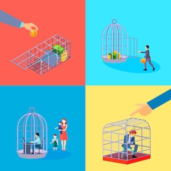 L'insieme delle composizioni quadrate dei soldi di affari dell'ufficio della gabbia con il carattere dell'operaio finanziario languisce nella detenzione