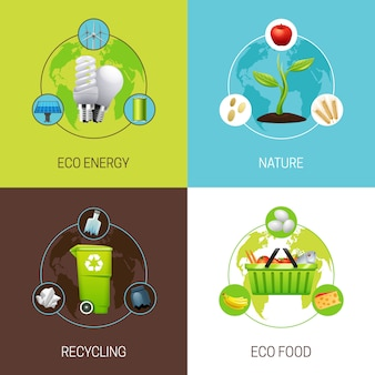 L'insieme delle icone con differenti tipi di illustrazioni di concetto dell'ecologia vector l'illustrazione