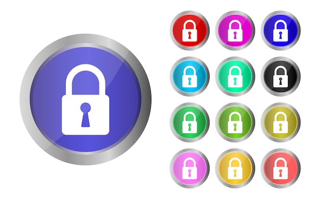 L'insieme delle icone della serratura progetta l'illustrazione isolata su fondo bianco