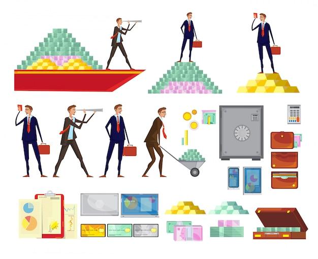 L'insieme delle immagini del fumetto di ricchezza finanziaria isolata dei caratteri dell'impiegato contante le scatole sicure delle piramidi e sui