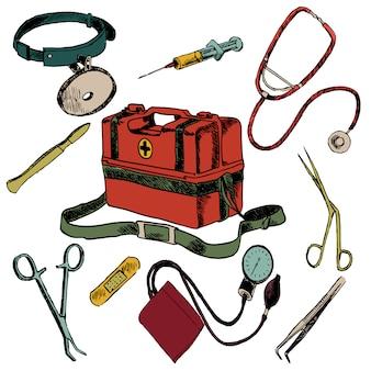 L'insieme di elementi colorato schizzo sanitario di emergenza della medicina ha isolato l'illustrazione di vettore
