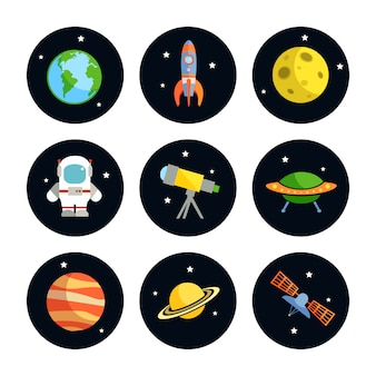 L'insieme di elementi rotondo di astronomia e dello spazio dell'astronauta della luna del razzo della terra ha isolato l'illustrazione di vettore