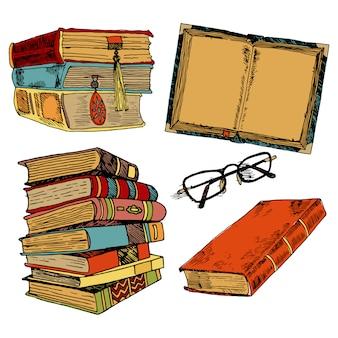 L'insieme di schizzo della pila di libri d'annata con i vetri ha isolato l'illustrazione di vettore