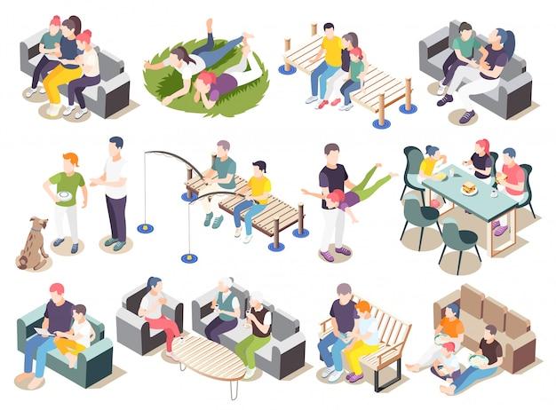 L'insieme isometrico dell'icona del tempo insieme passa le situazioni di tempo con l'illustrazione dei genitori e degli amanti della famiglia degli amici
