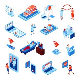 L'insieme isometrico della medicina online con gli apparecchi elettronici per monitoraggio sanitario e la comunicazione con medico ha isolato l'illustrazione di vettore