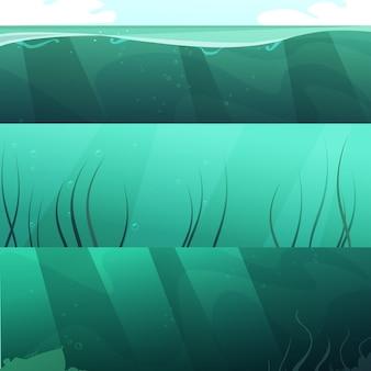 L'insieme orizzontale del fondo dell'acqua blu verde dell'oceano con i raggi luminosi e le alghe sottraggono l'illustrazione di vettore isolata