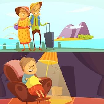 L'insieme orizzontale del fondo della gente senior con viaggiare e tricottare il fumetto di simboli ha isolato l'illustrazione di vettore